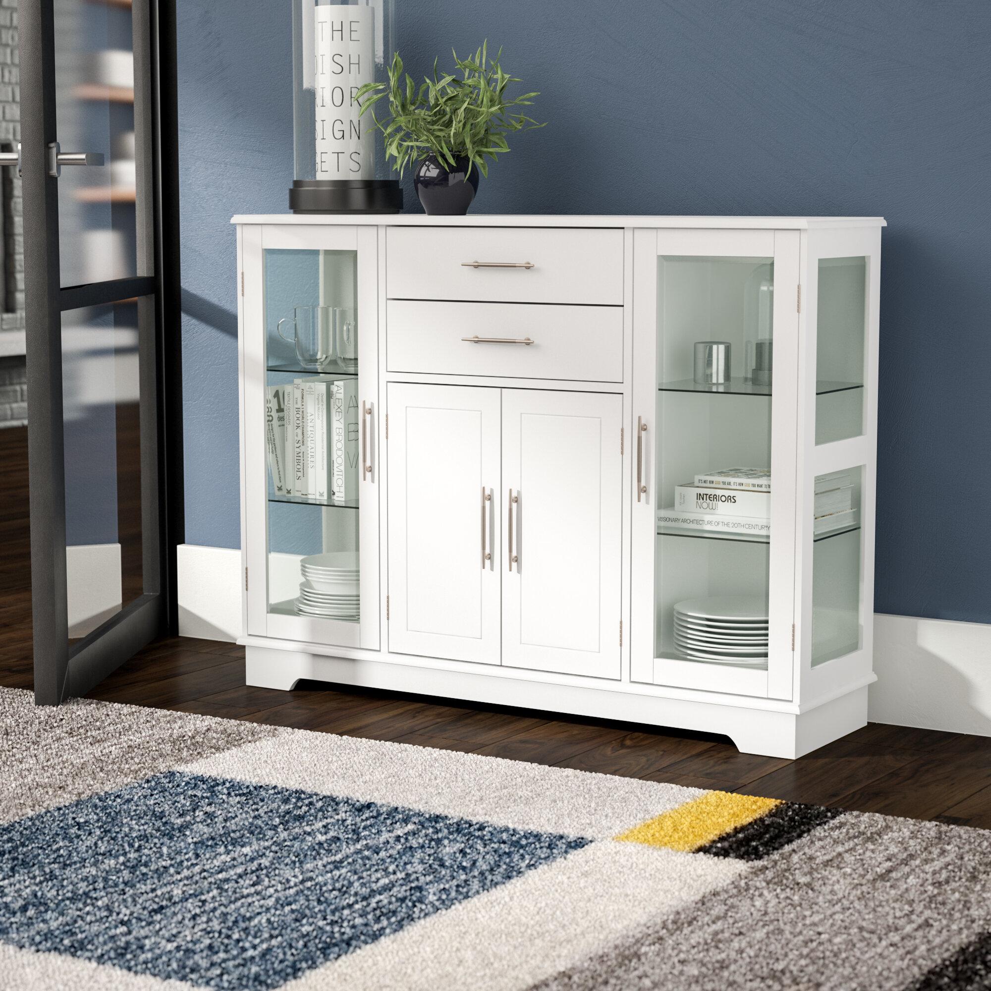 Latitude Run Dufferin Wood Storage 2 Drawer 4 Door Accent Cabinet
