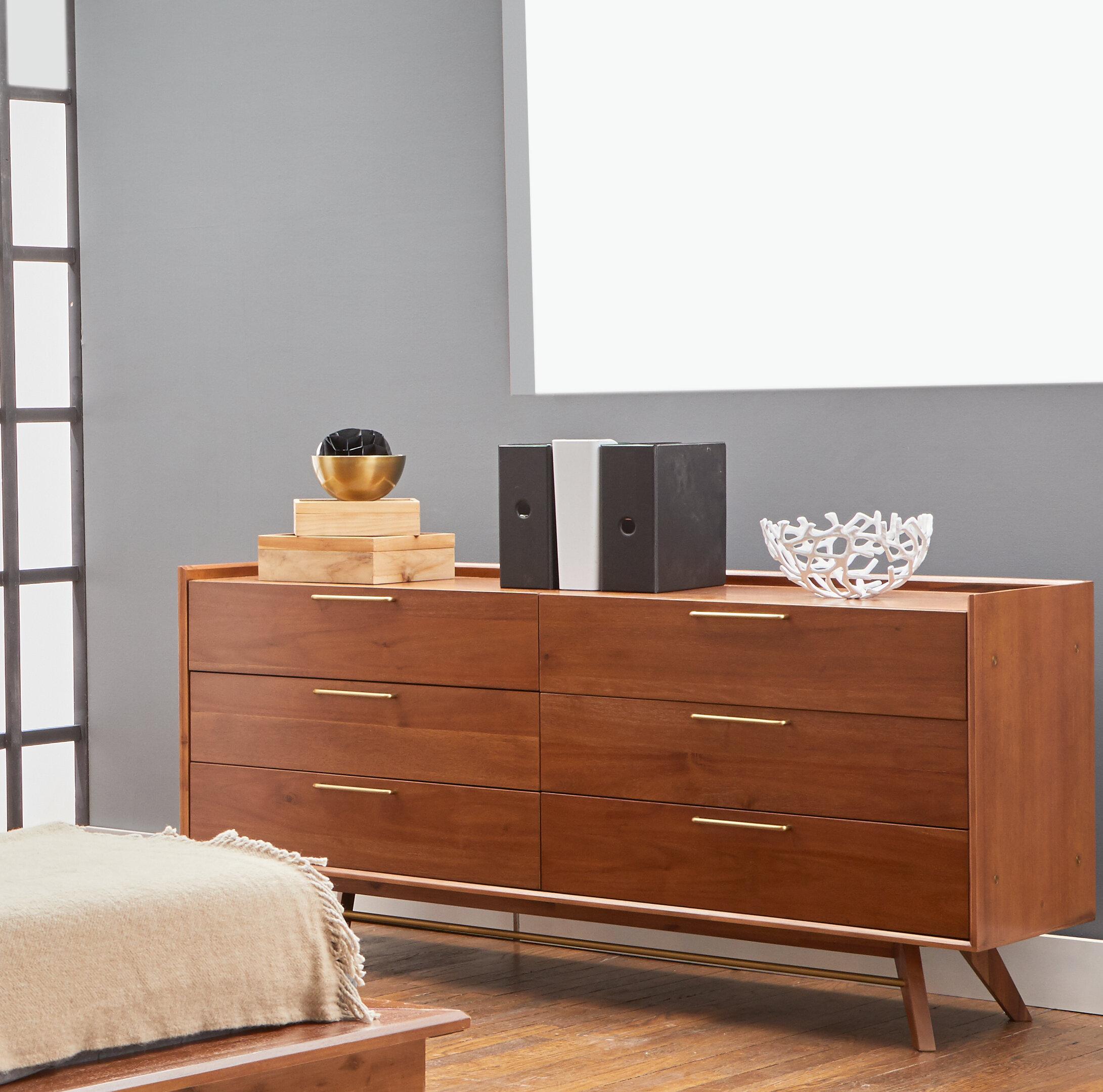 Moffitt 6 drawer double dresser with mirror