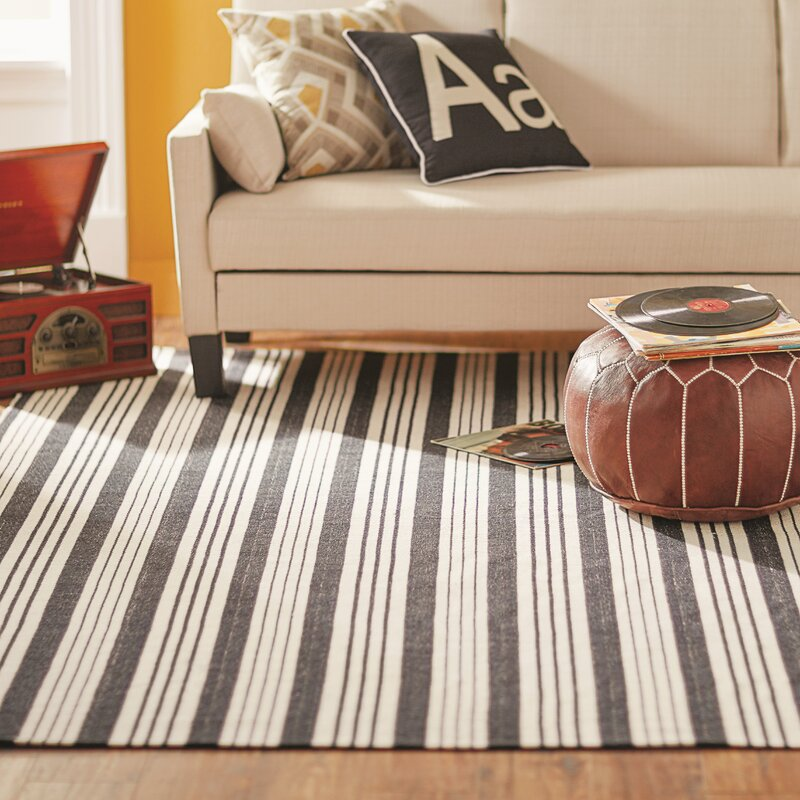 Dash And Albert Rugs Woven Birmingham Hand Woven Cotton Black Area