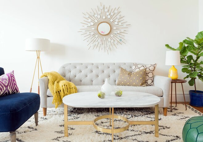 starburst mirror living room - How To Decorate A Large Wall