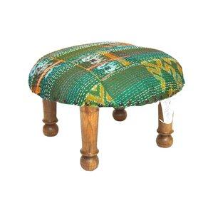 Kantha Stitched Ikat Ottoman by Divine Designs