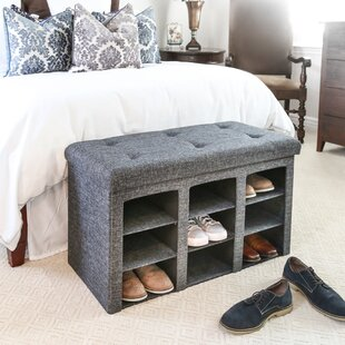 Winston Porter Foldable Tufted 9 Pair Shoe Storage Bench