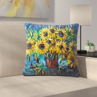 Olena Art Sunflowers Throw Pillow