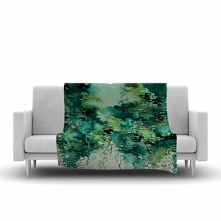 Affordable Ebi Emporium Beauty in the Rain Emerald Fleece Blanket By East Urban Home
