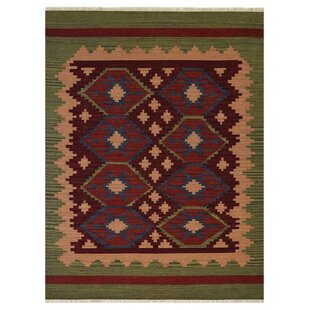 Clairville Hand Woven Wool Burgundy Olive Area Rug