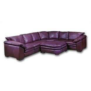 Omnia Leather Fargo Leather Sectional with Ottoman