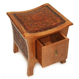Mclane Floral Rhythm Tornillo Wood End Table with Storage by Bloomsbury Market