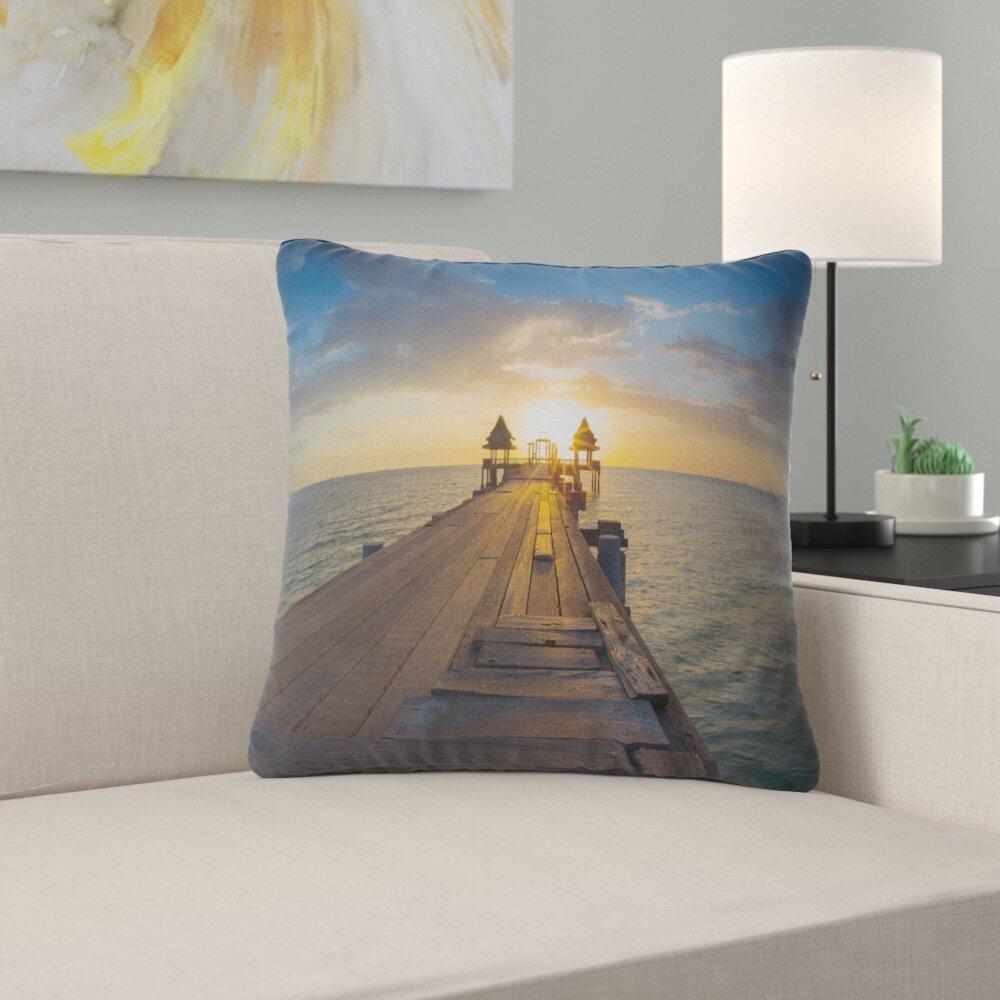 East Urban Home Pier Seascape Huge Wooden Pier Into Setting Sun Pillow Wayfair