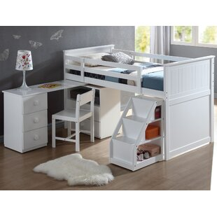 Mitch Twin Loft Bed with Chest and Swivel Desk and Ladder