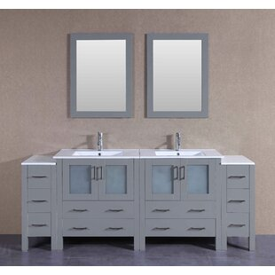 Beverly 84 Double Bathroom Vanity Set with Mirror by Bosconi