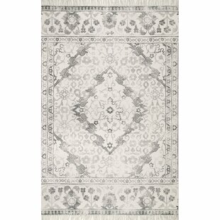 Check Prices Ed Flatweave Cotton Gray/Off White Area Rug By Bungalow Rose
