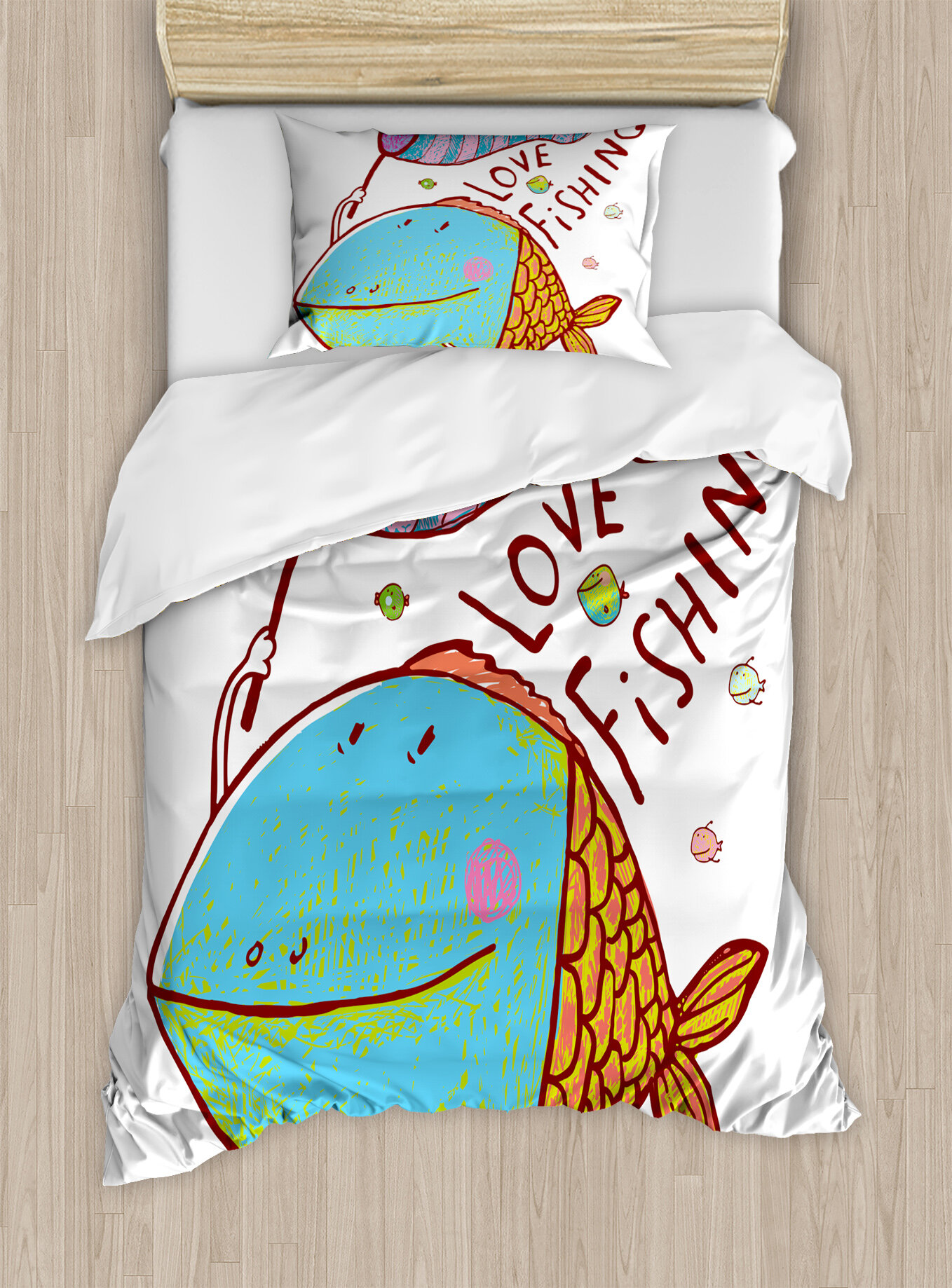Ambesonne Fishing Kids Cute Large Fat Fish Holding A Flag With Love Quote Humor Fun Nursery Theme Duvet Cover Set Wayfair