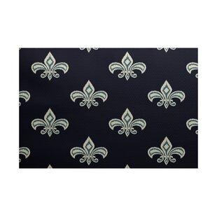 Bayliff Fleur de Lis Ikat Print Navy Blue Indoor/Outdoor Area Rug
