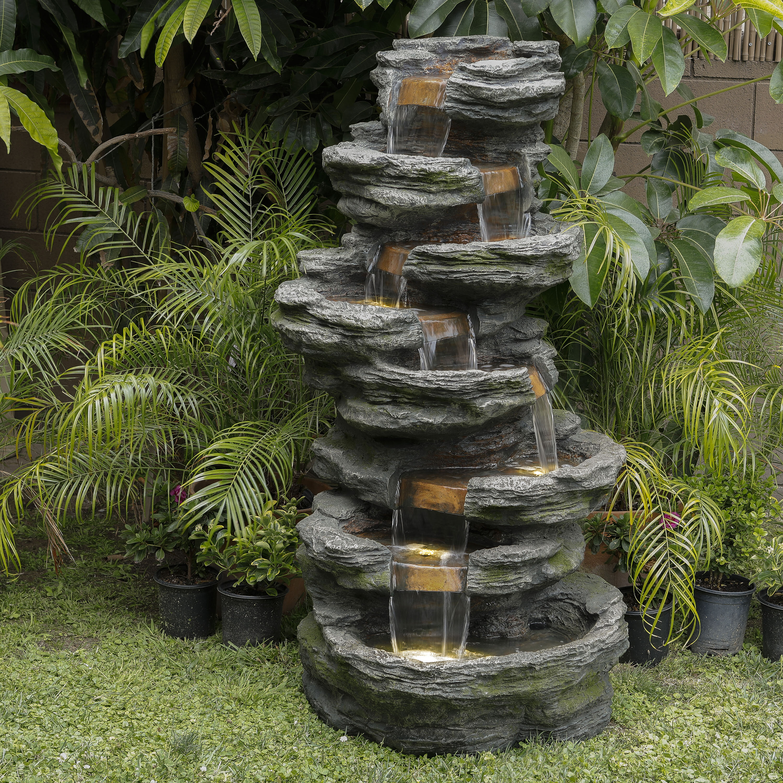 Millwood Pines Rockwood Resin Fountain With Light Wayfair