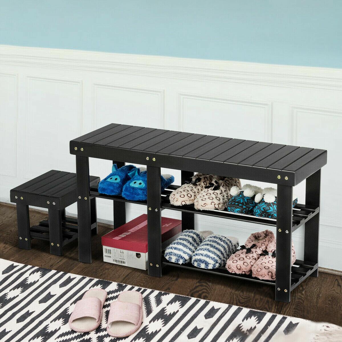 Latitude Run Bamboo Shoe Rack Bench With Stool Entryway 3 Tier Storage Organizer Black Reviews Wayfair,Bright Orange Kitchen Accessories