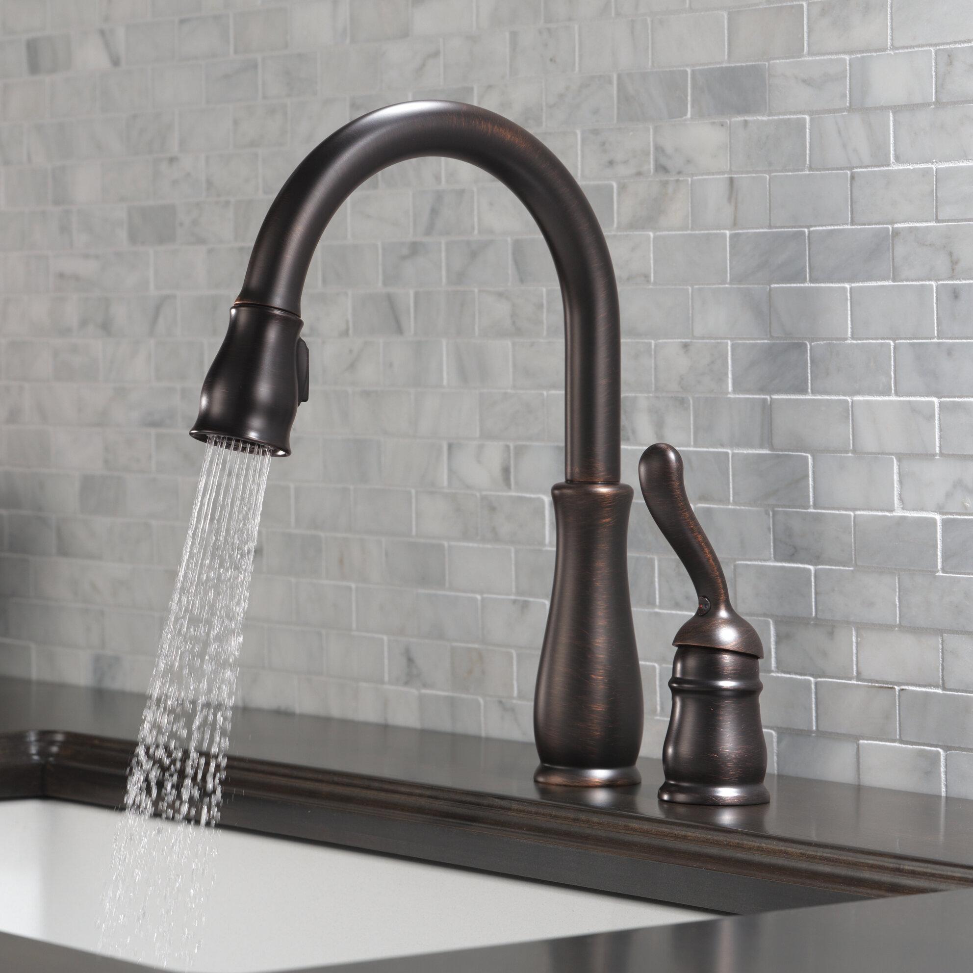978 Rb Dst Dst Ar Dst Delta Leland Pull Down Single Handle Kitchen Faucet Reviews Wayfair