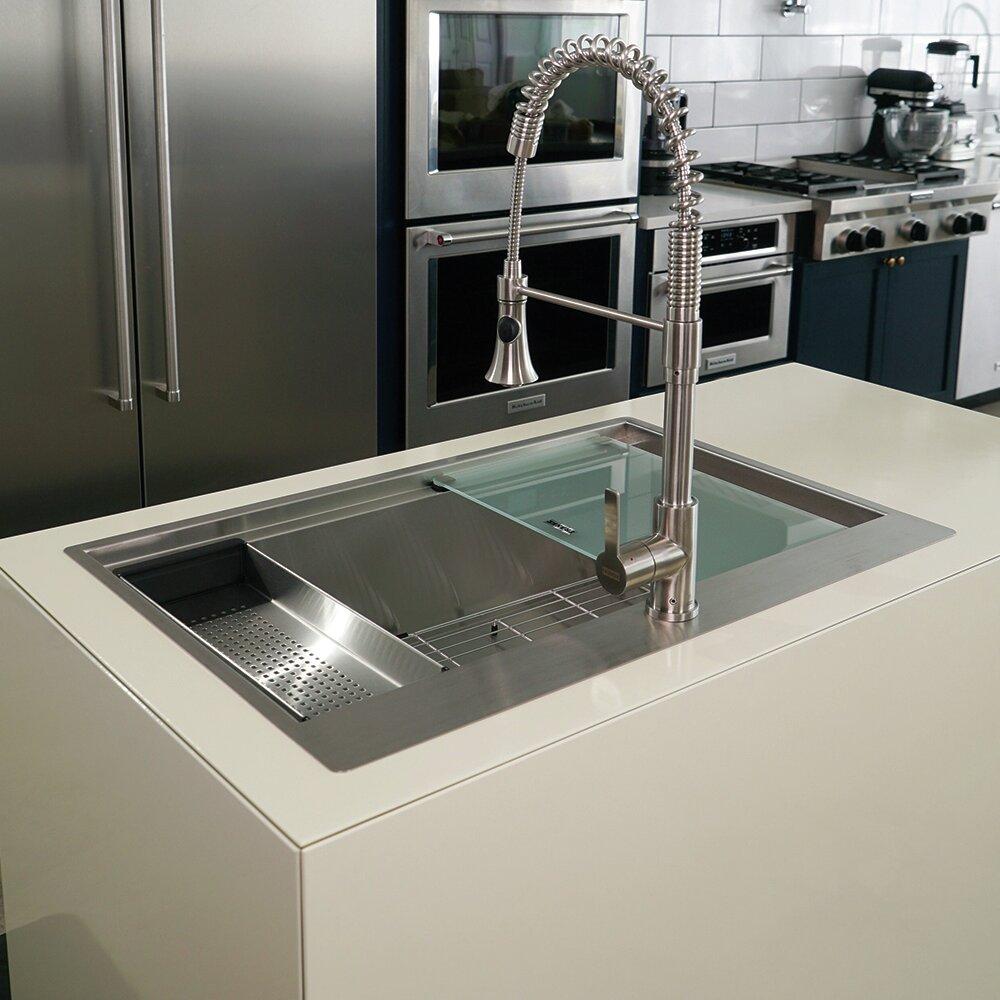 Franke 33 L X 22 W Dual Mount Kitchen Sink With Basket Strainer Reviews Wayfair