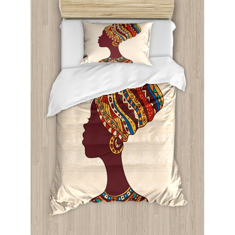Tribal African in Traditional Ethnic Fashion Dress Portrait Glamour Graphic Duvet Cover Set