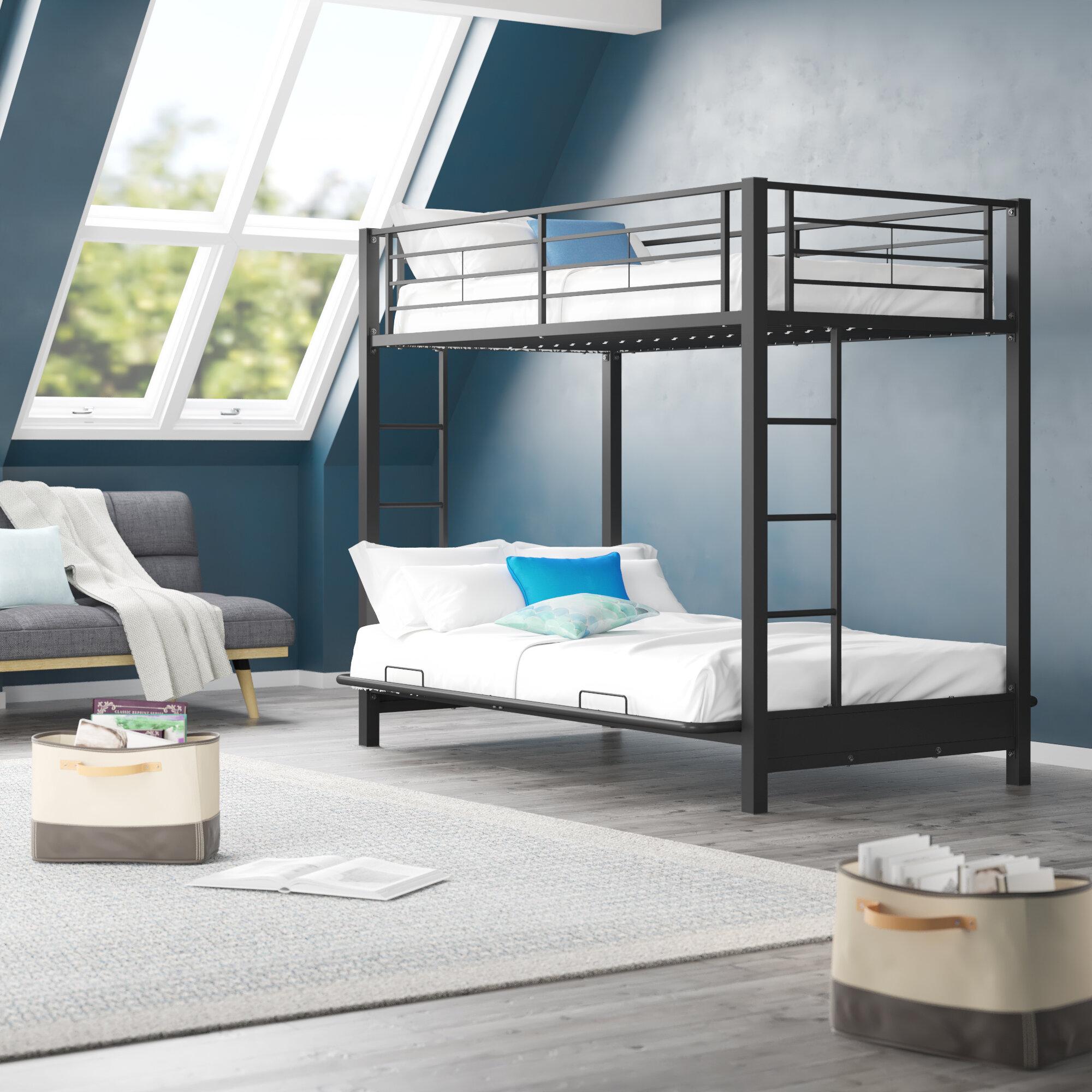 Harriet Bee Exmore Twin Over Full Metal Futon Bunk Bed By Harriet Bee Reviews Wayfair