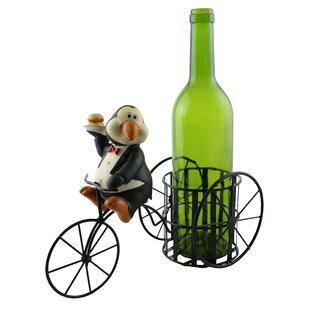 Lilian Penguin on Three Wheeled 1 Bottle Tabletop Wine Rack