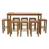 Vaughan Patio 9 Piece Teak Bar Height Dining Set