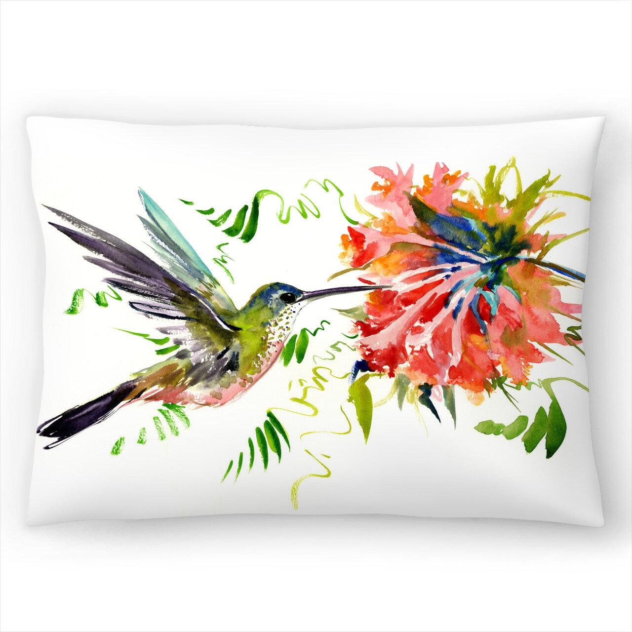 East Urban Home Suren Nersisyan Hummingbird And Flowers 3 Lumbar Pillow Reviews Wayfair