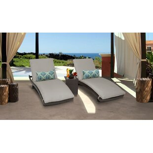 Meier Curved Sun Lounger Set with Cushions and Table by Rosecliff Heights