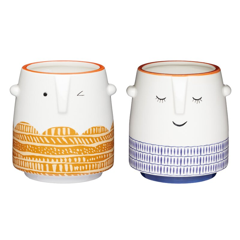 2-tlg. Übertopf-Set Winking and Sleepy Face aus Keramik