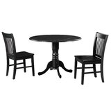 Brompton 3 Piece Drop Leaf Solid Wood Dining Set by Alcott Hill®