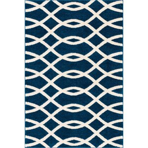 Chrisman Modern Abstract Lines Blue Area Rug