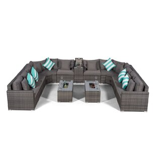 Villasenor Grey Rattan U Shape 10 Seat Sofa With 2 X Rectangle Ice Bucket Coffee Table + Drinks Cooler, Outdoor Patio Garden Furniture Image