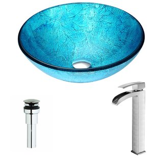 Compare & Buy Accent Glass Circular Vessel Bathroom Sink with Faucet By ANZZI