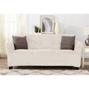 Velvet Plush Form Fit T-Cushion Sofa Slipcover by Symple Stuff