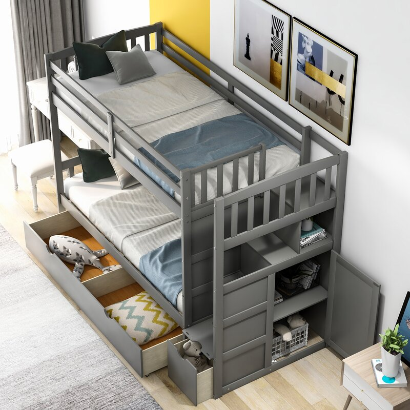 Harriet Bee Kyron Twin Over Full Bunk Bed With 2 Drawers Wayfair