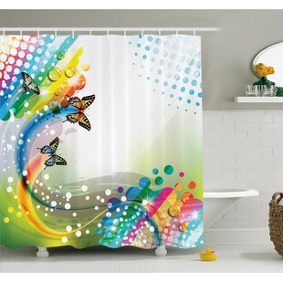 Flying Butterflies with Color Comet Bubbles Creative Fantasy Design Shower Curtain Set