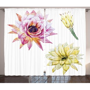 May Cactus Graphic Print & Text Semi-Sheer Rod Pocket Curtain Panels (Set of 2) by Bungalow Rose