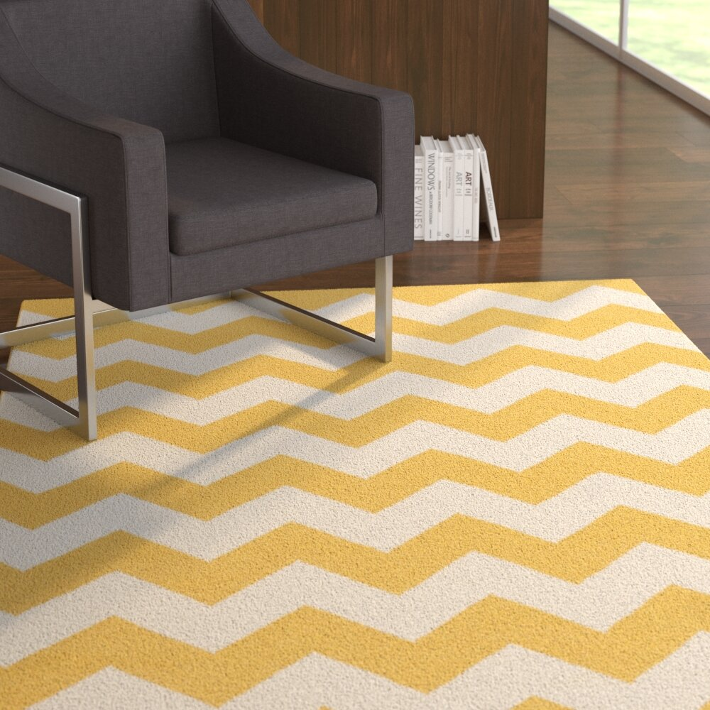 Ebern Designs Bangor Yellow Chevron Area Rug | Wayfair