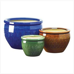 adah 3piece ceramic pot planter set