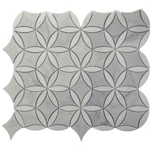 Winter Bloom Random Sized Marble Mosaic Tile in Gray
