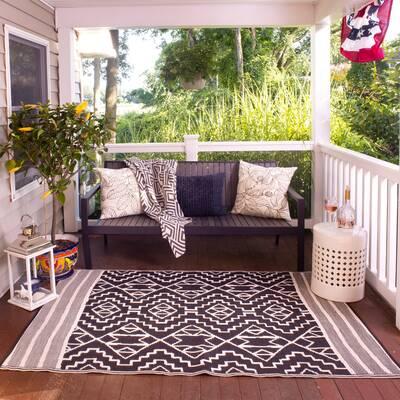 Tayler Indooroutdoor Blackbeige Area Rug Reviews Joss Main