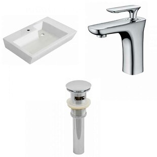 Affordable Ceramic 26 Wall-Mount Bathroom Sink with Faucet and Overflow By Royal Purple Bath Kitchen