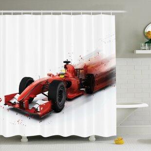 Ervin Decor Formula 1 Racing Shower Curtain Set