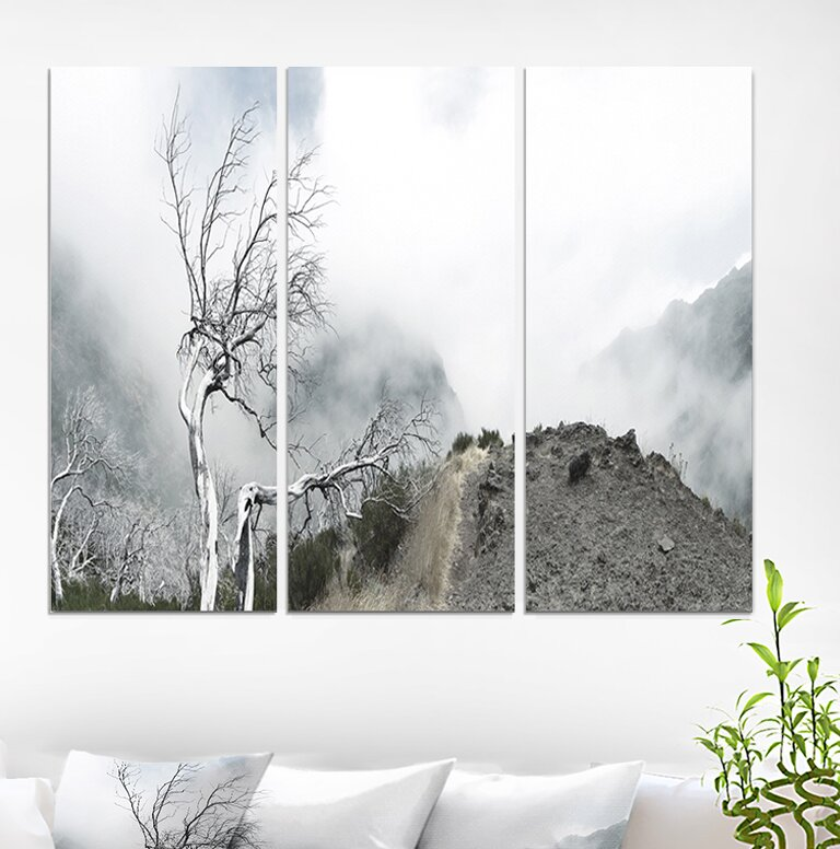 East Urban Home Dead Trees In Foggy Mountains Photographic Print Multi Piece Image On Wrapped Canvas Wayfair