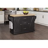 Jax Kitchen Island with Wood Top by Gracie Oaks