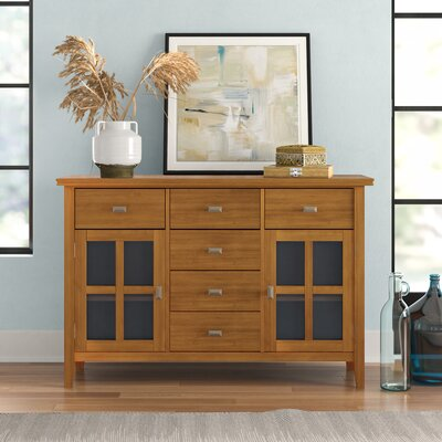 "Three Posts Gosport 54"" Wide 6 Drawer Sideboard  Color: Honey Brown"