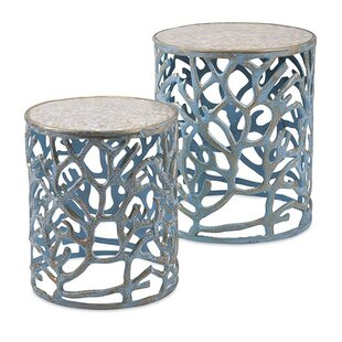 Woodland Imports 2 Piece Coral Mother of Pearl End Table Set