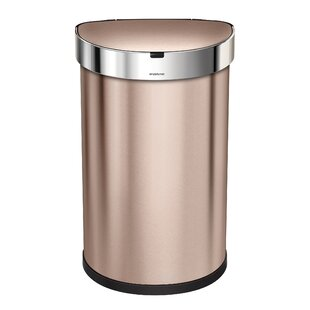 simplehuman 12 Gallon Semi-Round Sensor Trash Can with Liner Pocket