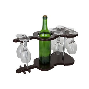 Guitar Shaped Wooden Glass Holder Display..
