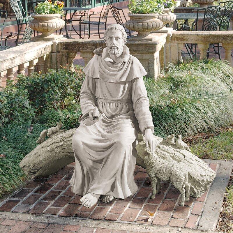 Saint Francis stone garden ornament Saint of garden and animals religious St