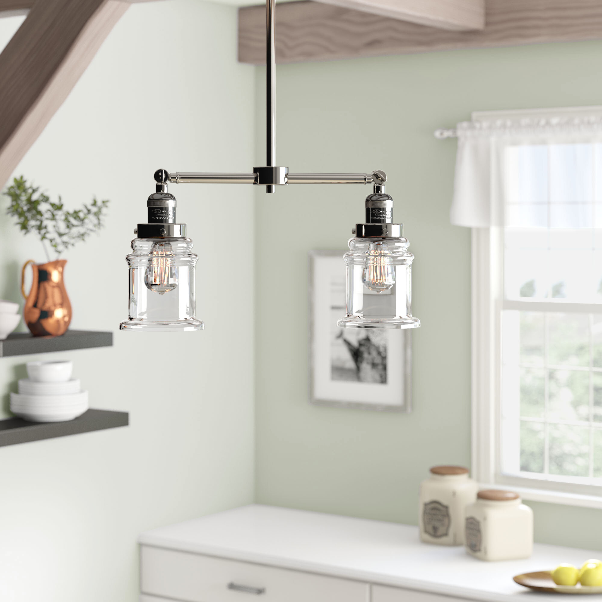 Laurel Foundry Modern Farmhouse Greeley 2 Light Kitchen Island Linear Pendant Reviews Wayfair